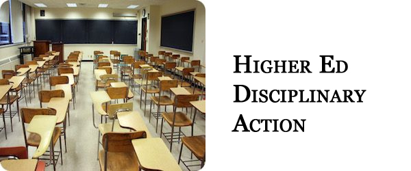 Higher Education Disciplinary Action